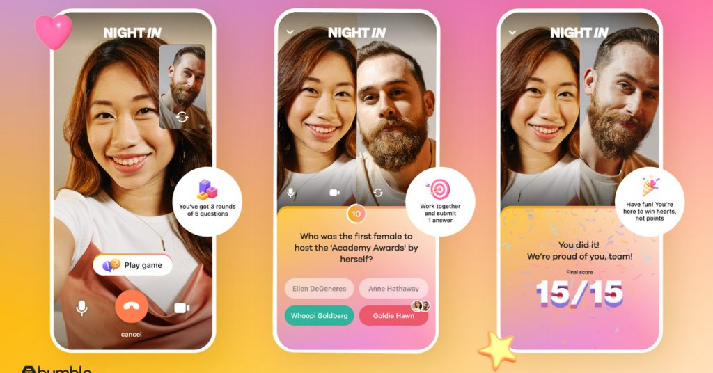 Bumble has launched Night In to help make virtual date more entertaining