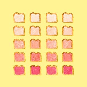 sliced of bread on yellow background